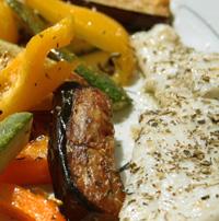 filets de limande marines et ses legumes grilles
