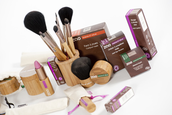 Maquillage bio Zao Makeup : bronze, grenat et vieux rose